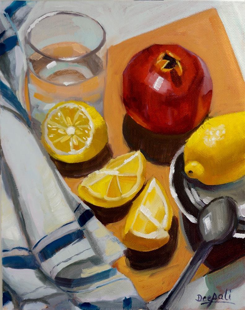 """Lemons and pomegranate"" original fine art by Dipali Rabadiya"