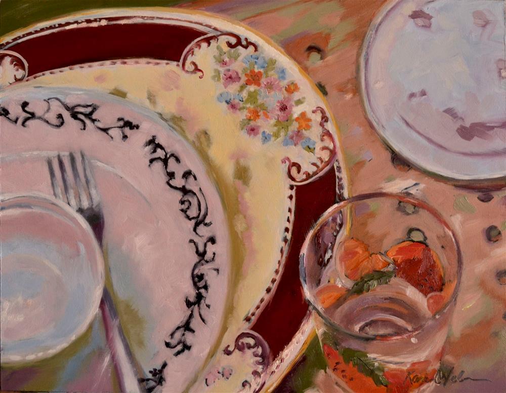 """Laila's Platter, Ella's glass"" original fine art by Karen Weber"