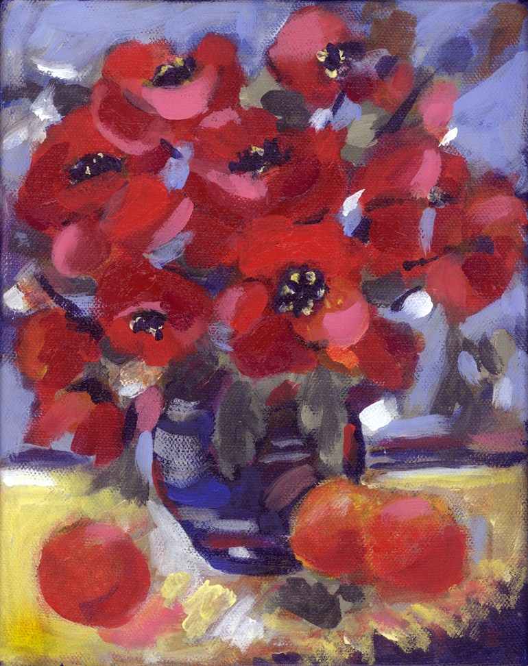"""Poppy Pot"" original fine art by Pamela Gatens"