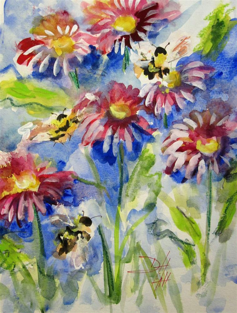 """""""Pink Flowers and Bee No. 3"""" original fine art by Delilah Smith"""