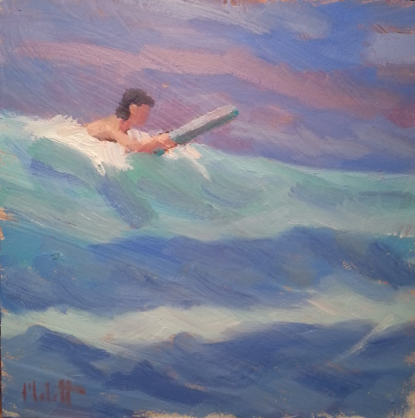 """Surfing in Hawaii original oil painting"" original fine art by Heidi Malott"