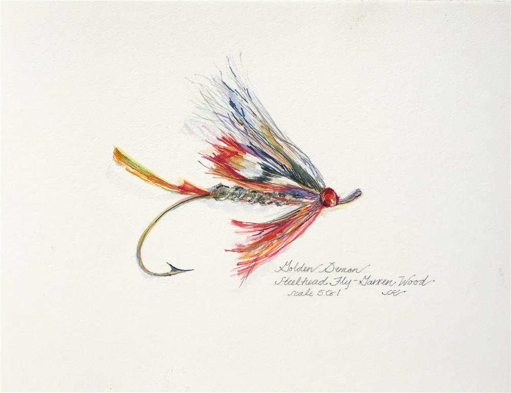 """""""Golden Demon - Steelhead Fly"""" original fine art by Jean Krueger"""