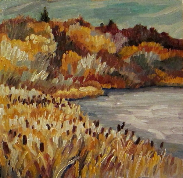 """""""Ice and Bulrushes in November"""" original fine art by Nicki Ault"""