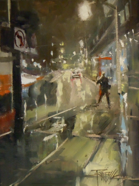"""""""Near the Institute  night city painting by Robin Weiss"""" original fine art by Robin Weiss"""
