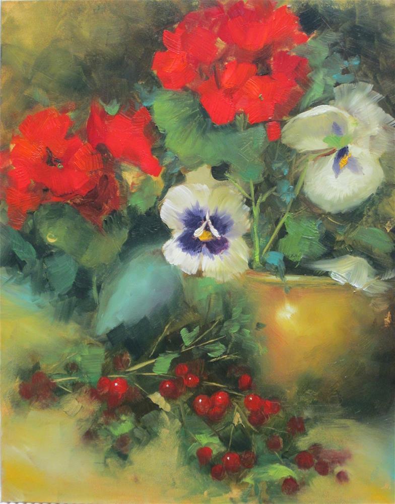 """Geraniums and Berries"" original fine art by Barbara Wagner"