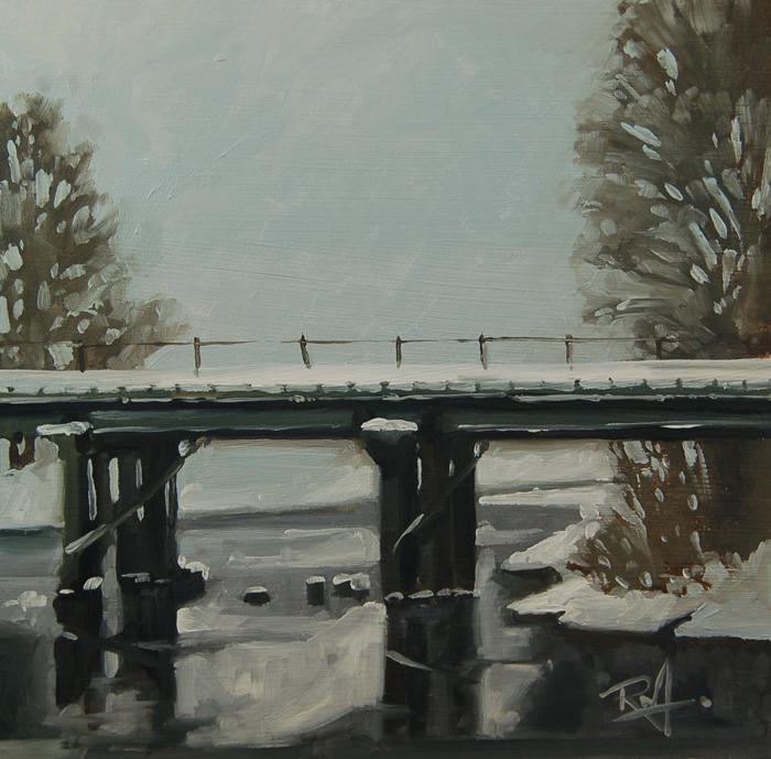 """No 409 The old rail Bridge"" original fine art by Robin J Mitchell"