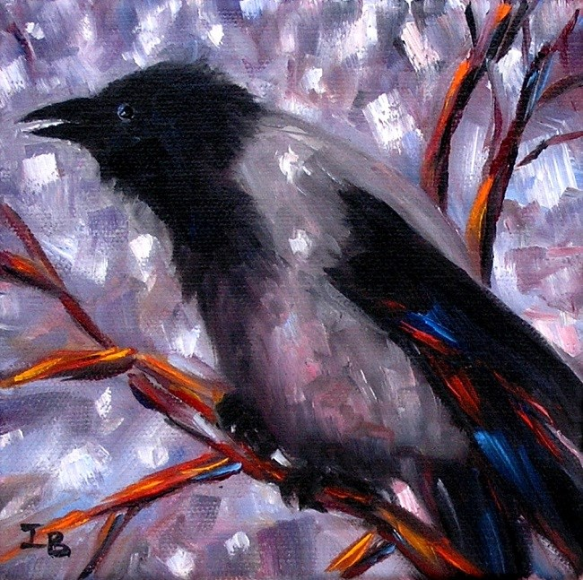 """""""Crow in the Middle of the Winter"""" original fine art by Irina Beskina"""