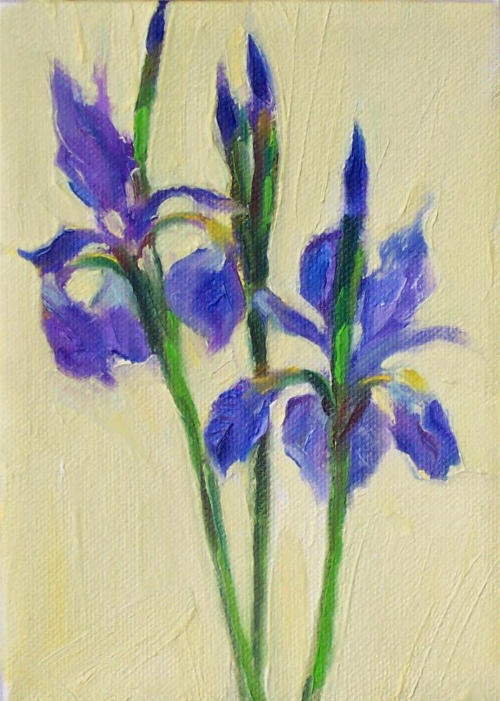 """First Spring Iris,still life,oil on canvas,7x5,price$200"" original fine art by Joy Olney"