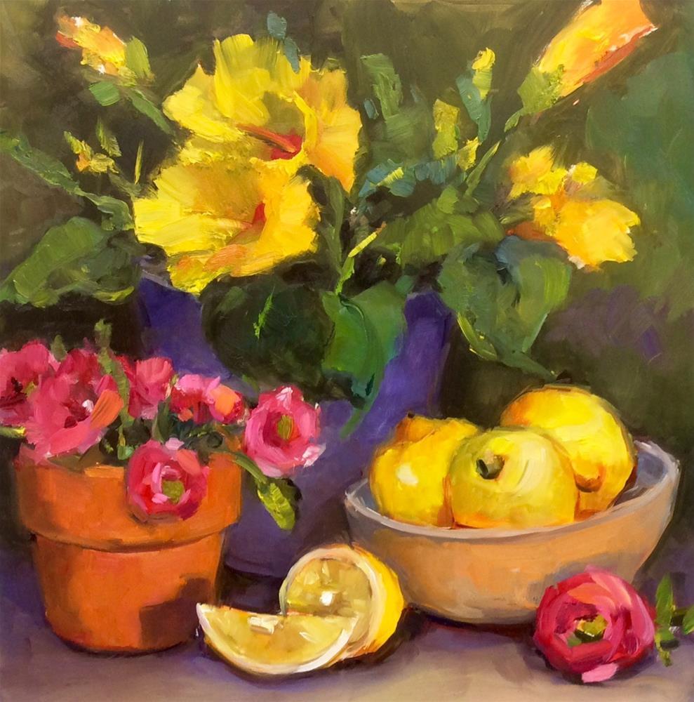 """Flower Study in yellows"" original fine art by Laurie Johnson Lepkowska"