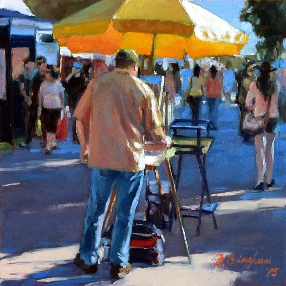 """Artist at Show-- DPW The Crowd of People Challenge"" original fine art by Joanna Bingham"