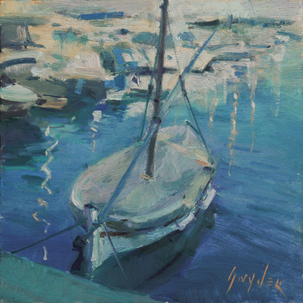 """"""" 30 Paintings in 30 Days #16 Small Boat, Mediterranean"""" original fine art by Julie Snyder"""