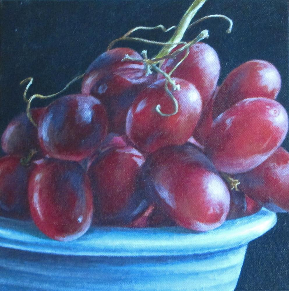"""Grapes in Blue Bowl"" original fine art by Debbie Shirley"