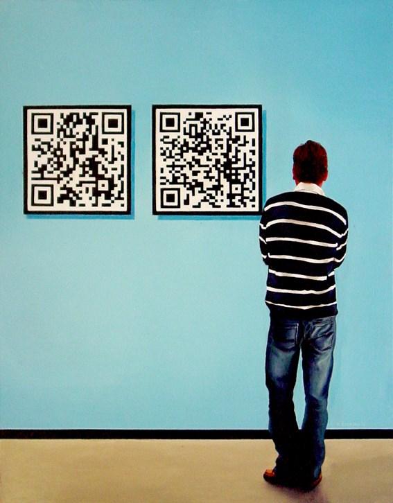 """Self Portrait With QR Codes"" original fine art by Gerard Boersma"