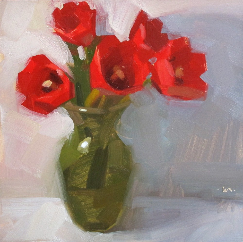"""Five Tulips"" original fine art by Carol Marine"