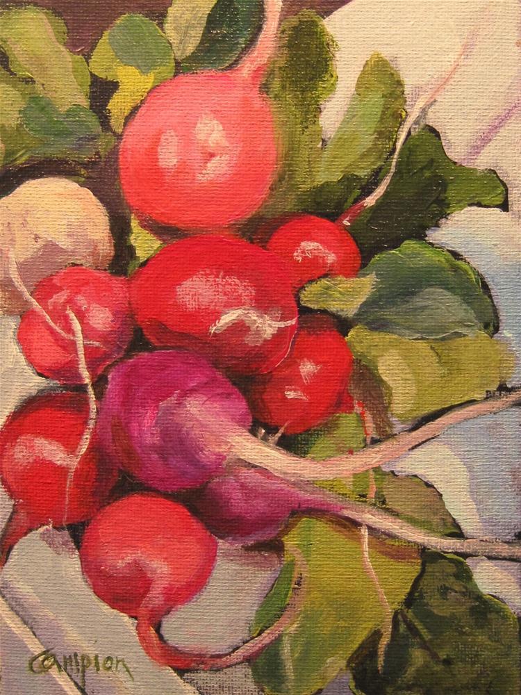 """""""Fresh Market Radishes"""" original fine art by Diane Campion"""