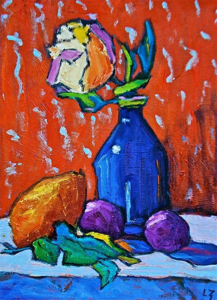 """""""Rose with Pear and Plums"""" original fine art by Liz Zornes"""