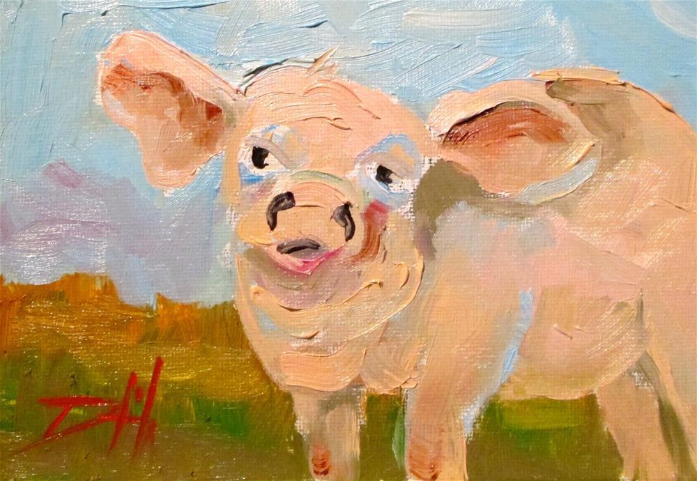 """Pig No. 8"" original fine art by Delilah Smith"
