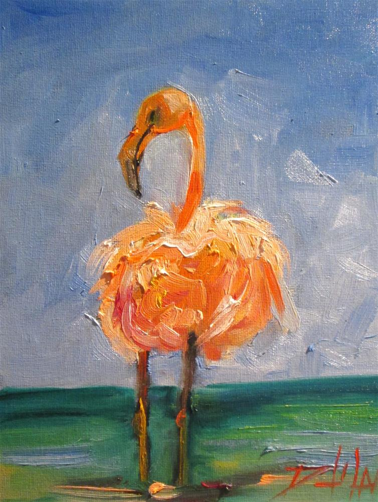 """Flamingo No. 21"" original fine art by Delilah Smith"