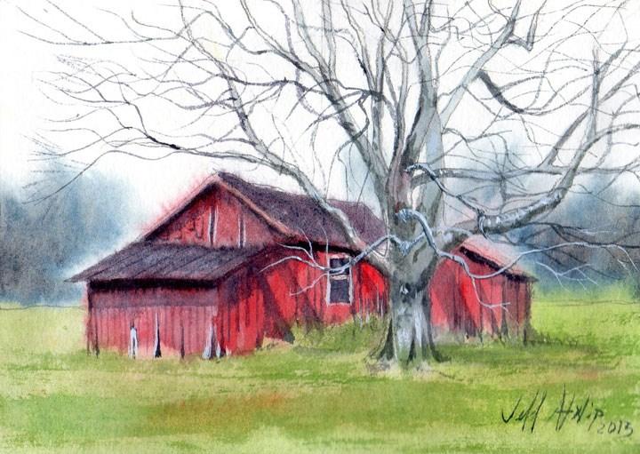 """Red Shed"" original fine art by Jeff Atnip"
