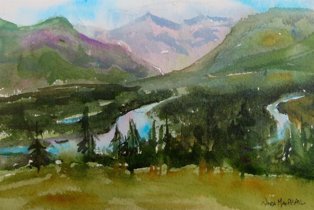 """""""the evening Bow River"""" original fine art by Nora MacPhail"""