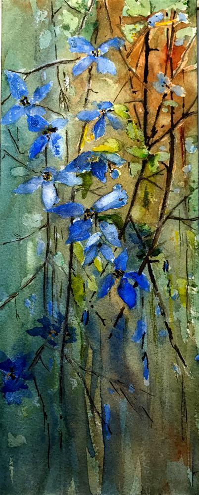 """blue hanging flowers"" original fine art by Betty Argiros"