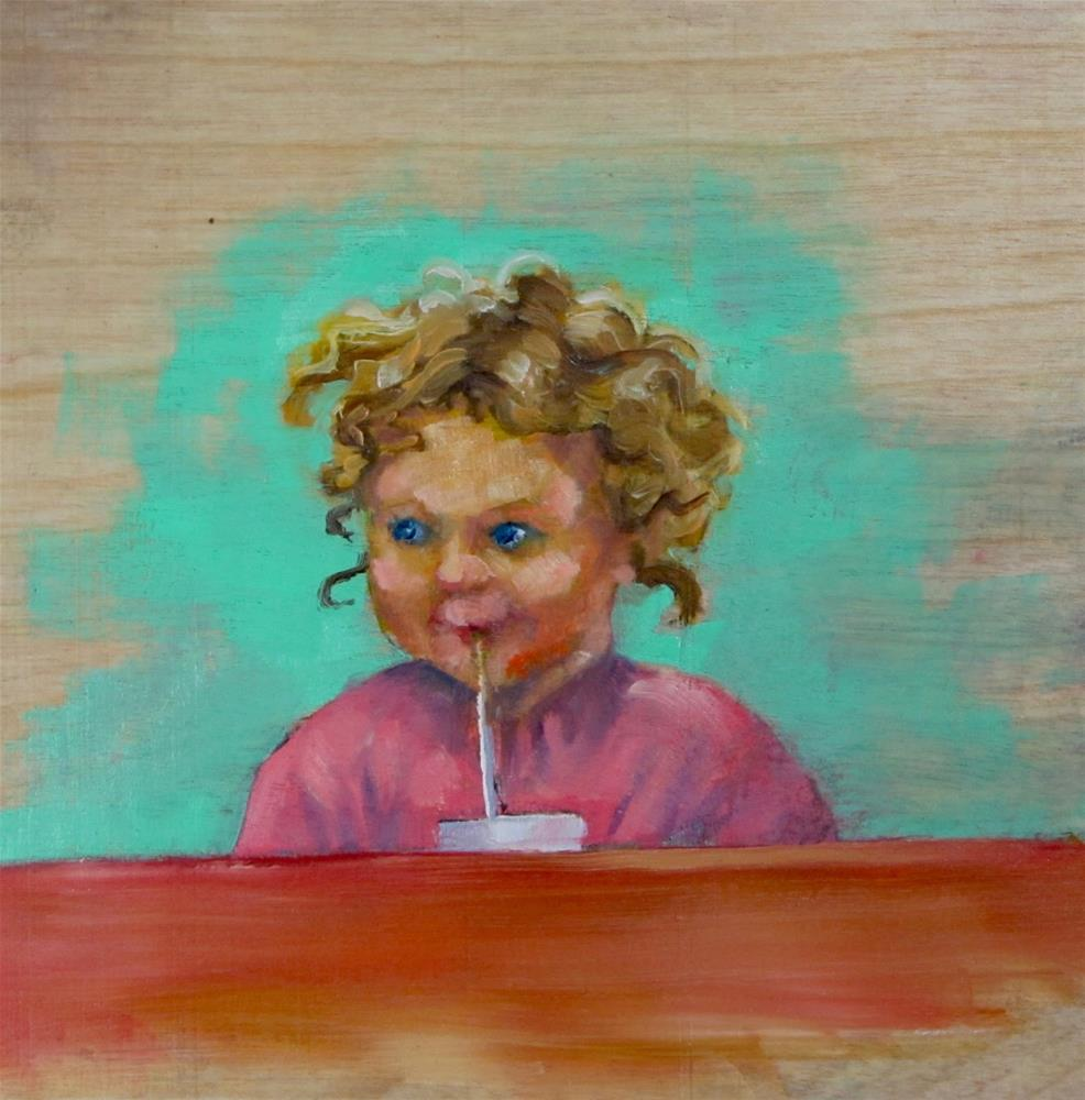 """""""Better With a Straw"""" original fine art by Christine Holzschuh"""