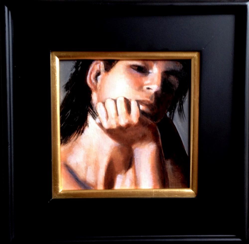 """""""Considering 8x8 oil on linen panel in wood frame"""" original fine art by David Larson Evans"""