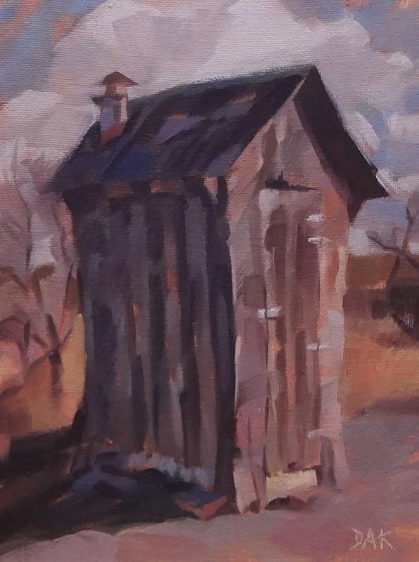 """The Privy"" original fine art by Deborah Ann Kirkeeide"