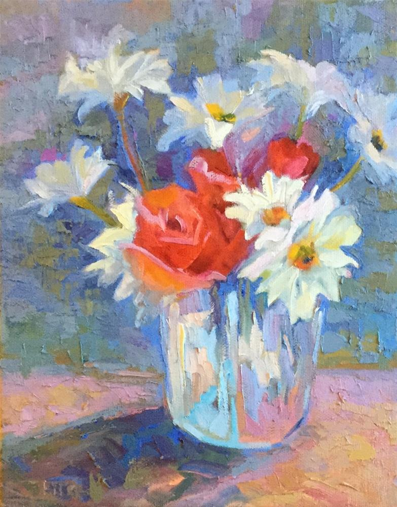 """Roses and Daisies"" original fine art by Charlotte Fitzgerald"