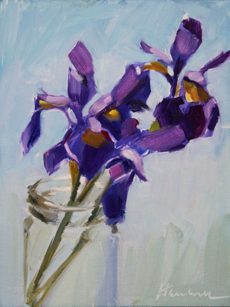 """Siberian Iris in a Glass Jar"" original fine art by Gretchen Hancock"