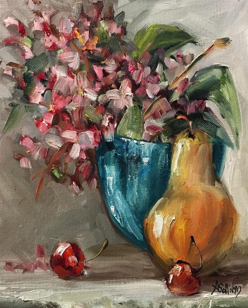 """That Little Blue Vase still life painting by Alabama Artist Angela Sullivan"" original fine art by Angela Sullivan"
