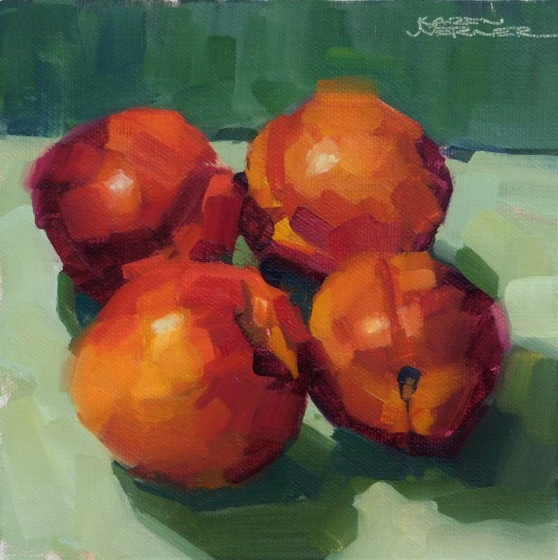 """""""Nectarines On Greens"""" original fine art by Karen Werner"""