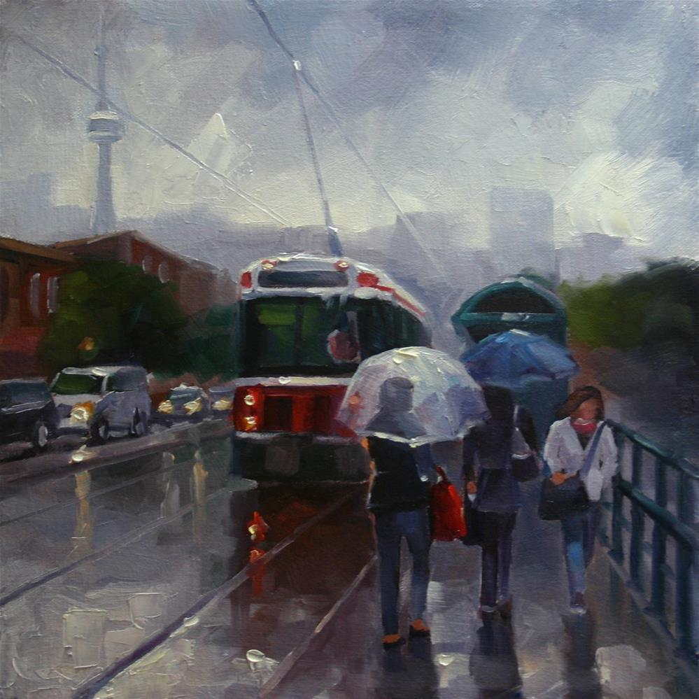 """Umbrellas on Spadina"" original fine art by Catherine Jeffrey"