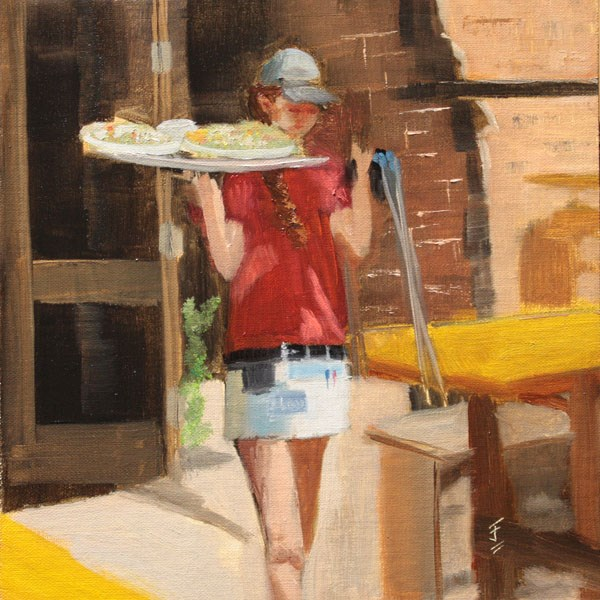 """Grist Mill Waitress"" original fine art by Jane Frederick"