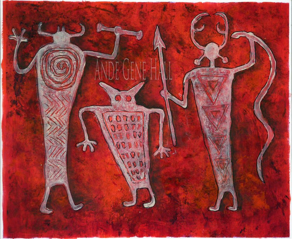 """""""Petroguys in Red"""" original fine art by Ande Hall"""
