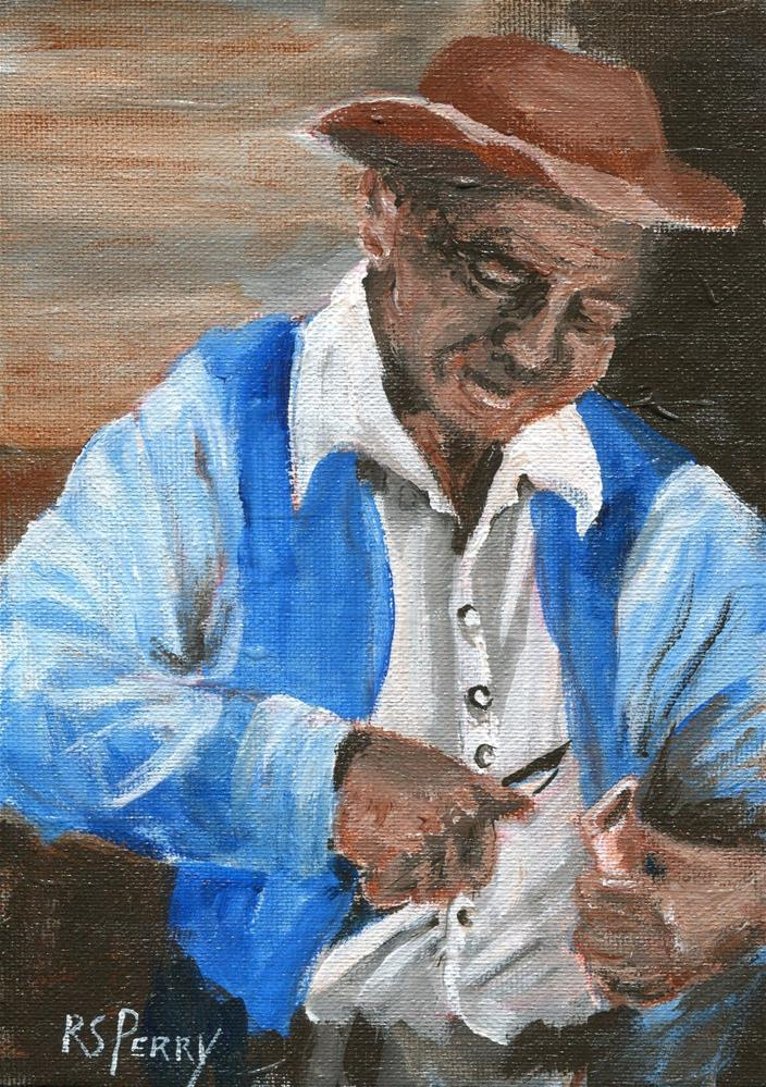 """Man Whittling "" original fine art by R. S. Perry"