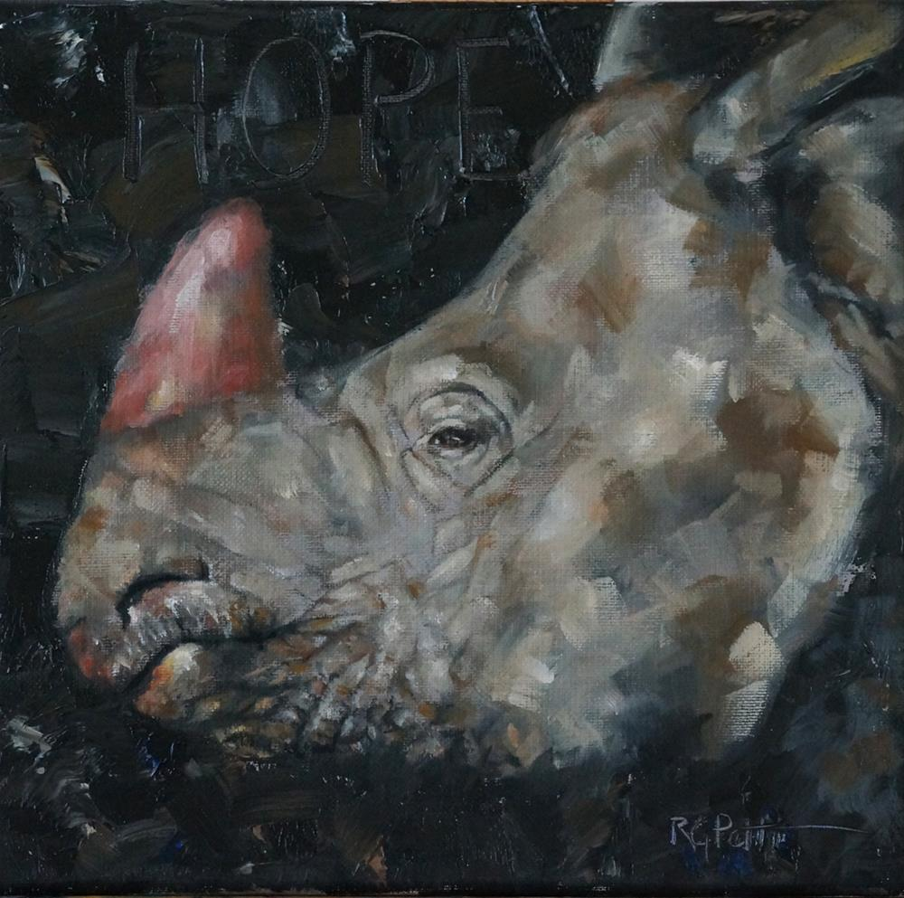 """Rhinoceros: Pink is the New Black"" original fine art by Rhea  Groepper Pettit"