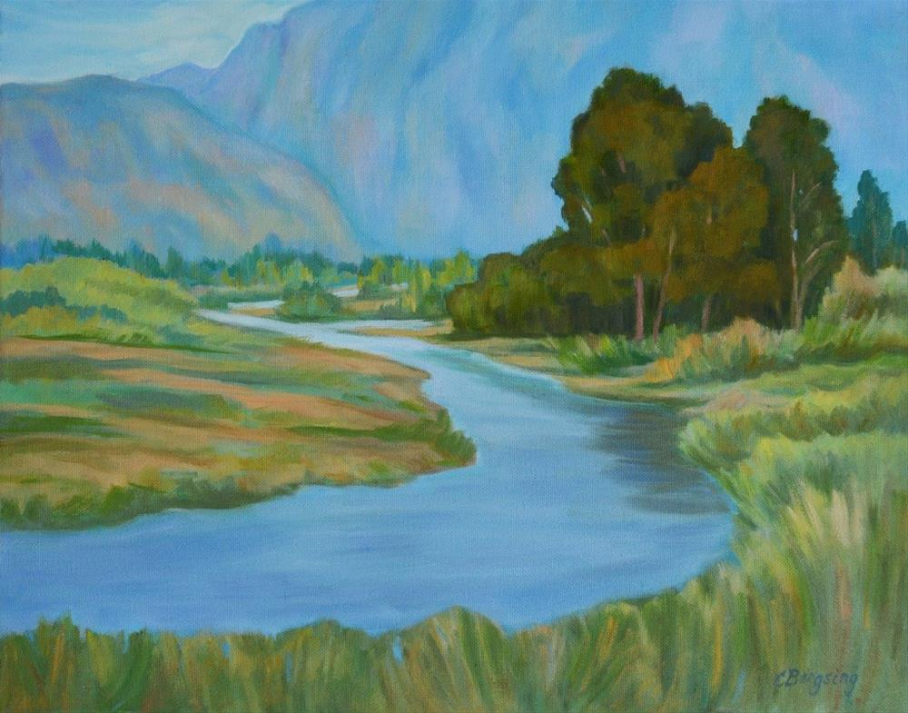 """Around the River Bend"" original fine art by Cathy Bergsing"