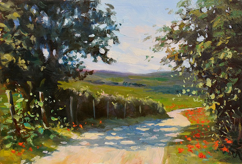 """Poppies alongside the road - oil painting"" original fine art by Nick Sarazan"