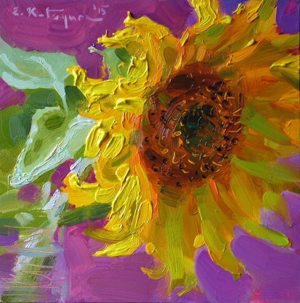 """Sunflower on Magenta"" original fine art by Elena Katsyura"