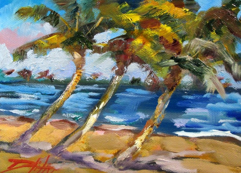 """Three Palm Trees"" original fine art by Delilah Smith"