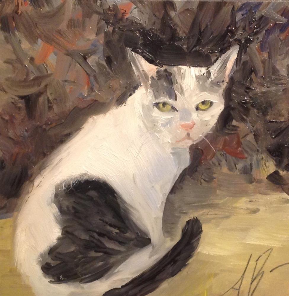 """Old Cat spots a Dog"" original fine art by Annette Balesteri"