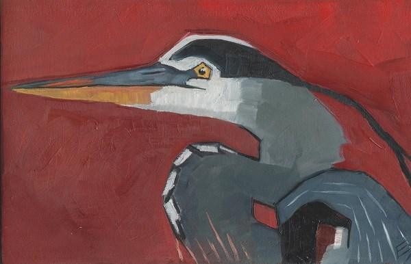 """Great Blue Heron On Block"" original fine art by Elizabeth See"