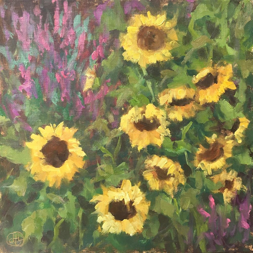 """sunflowers and celosia"" original fine art by Dottie  T  Leatherwood"