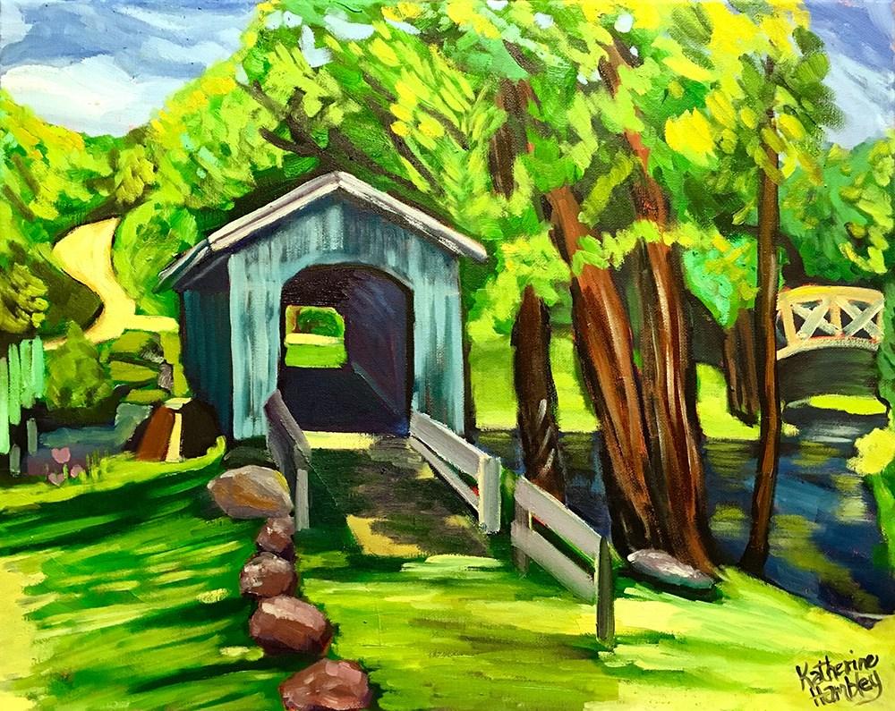 """Cedarburg Covered Bridge"" original fine art by Katherine Hambley"