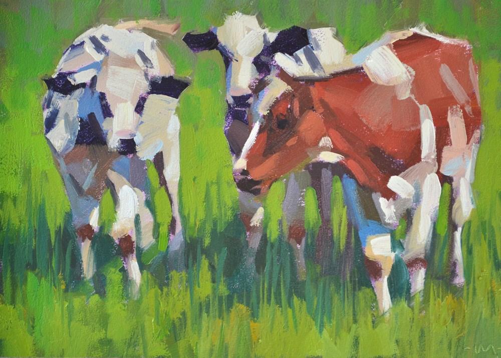 """Cow Powow"" original fine art by Carol Marine"