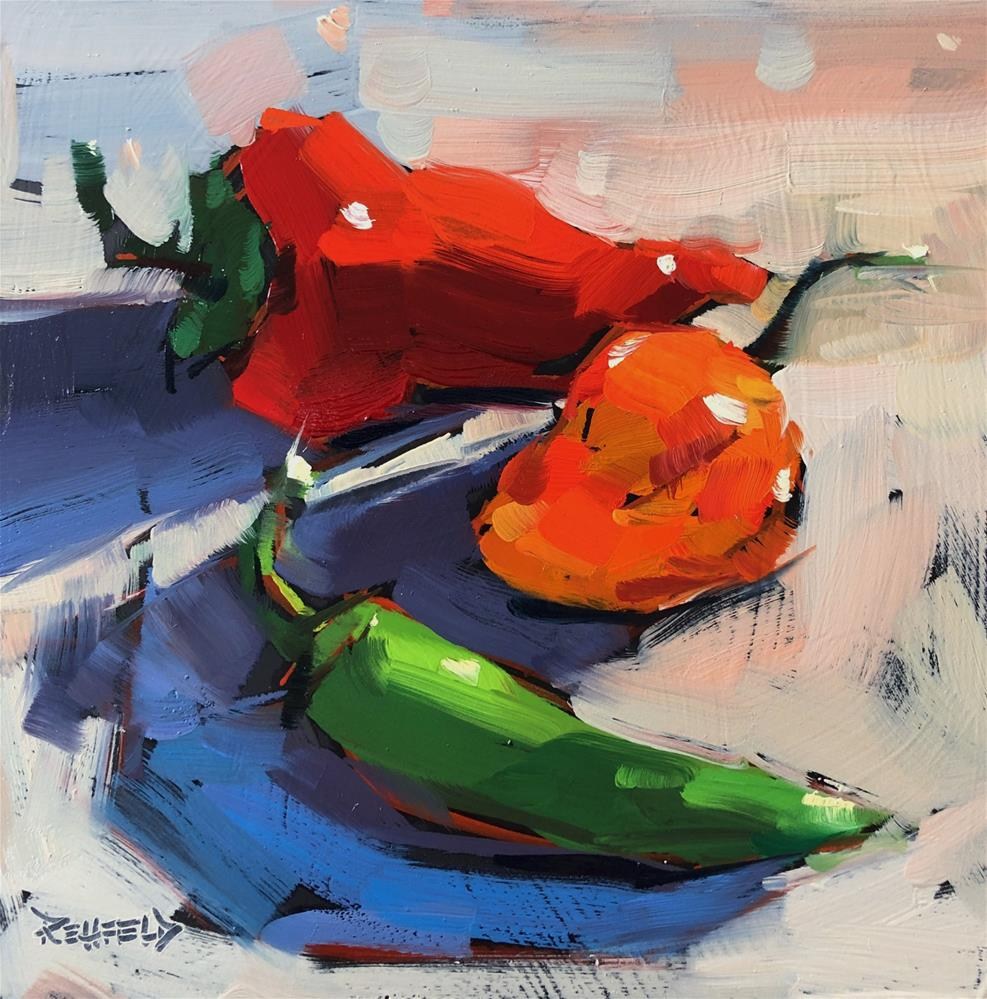 """""""Peppers Are Hot!"""" original fine art by Cathleen Rehfeld"""