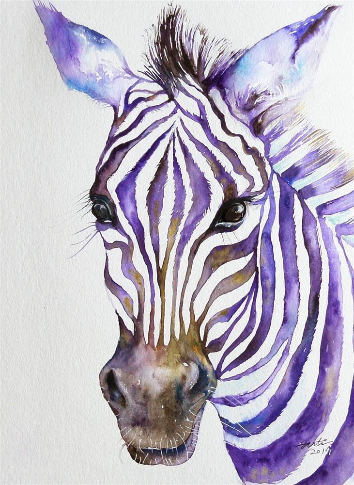 """Snazzy_ Purple Stripes Zebra Portrait"" original fine art by Arti Chauhan"