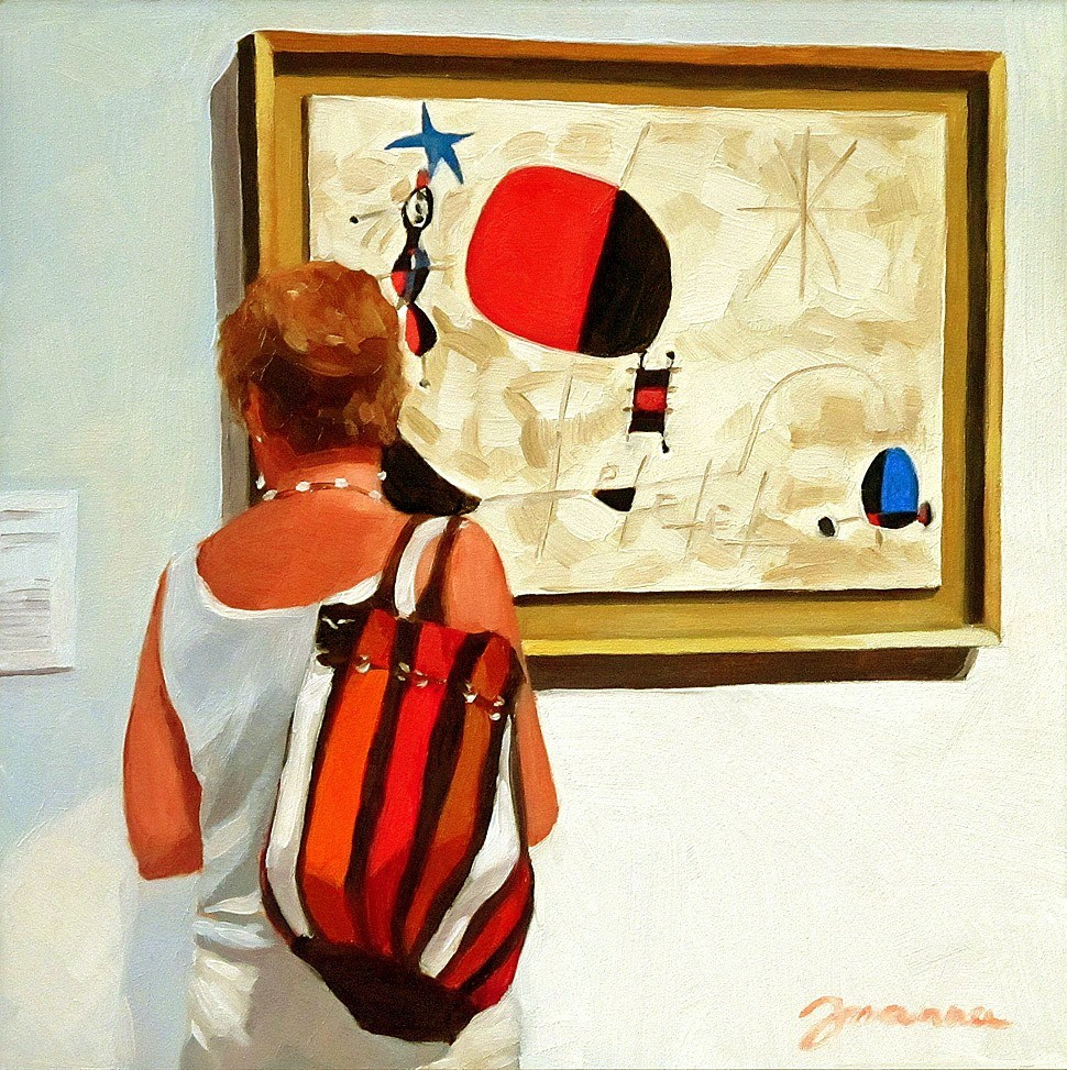 """""""Woman with Bird and Star--Painting People in Museum/Gallery Series"""" original fine art by Joanna Bingham"""