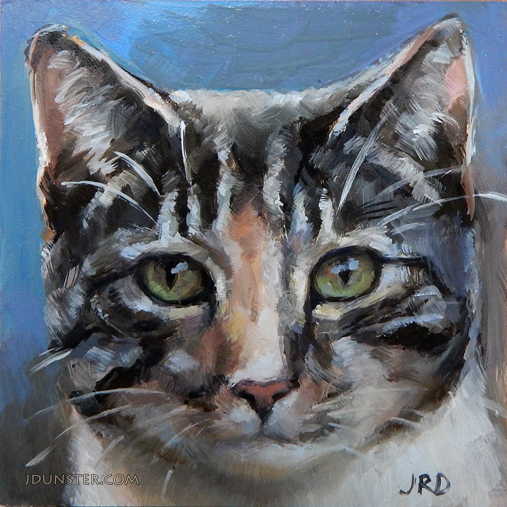 """Splotched Kitty Head"" original fine art by J. Dunster"